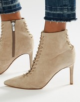 KENDALL + KYLIE Beige Suede Point Stiletto Lace Up Boot