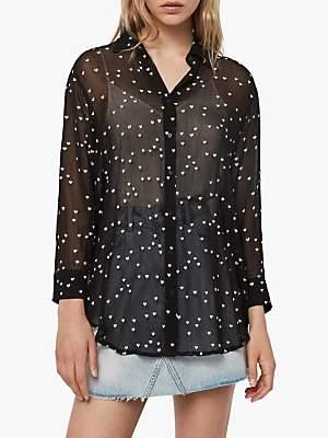 AllSaints Mariana Heart Sheer Shirt Blouse, Black