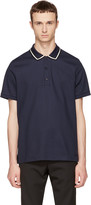 Burberry Navy Striped Collar Polo