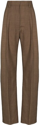 Eftychia Check-Pattern Wide-Leg Trousers
