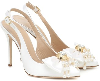 Alessandra Rich Embellished satin slingback pumps