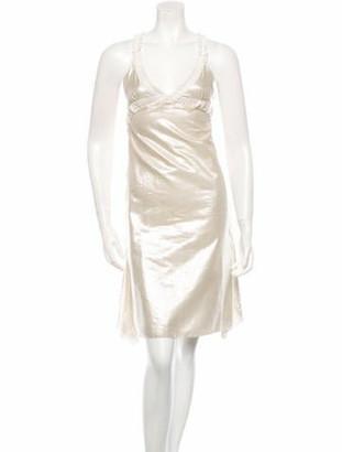 Nina Ricci Metallic Midi Sleeveless Dress w/ Tags silver