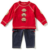 Baby Starters Baby Boys 3-12 Months Sock Monkey Top & Faux-Denim Pants