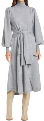 Ulla Johnson Astrid Tie Waist Merino Wool Sweater Dress