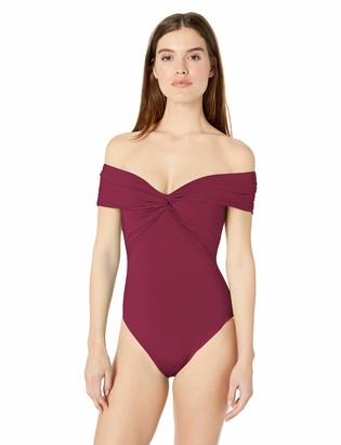 Trina Turk Women's Off Shoulder Twist Front Bandeau One Piece Swimsuit