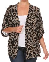 Brown Leopard Open Front Cardigan - Plus