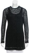 Donna Karan Beaded Long Sleeve Top