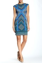 London Times T1497P Cap Sleeve Multi-Print Dress