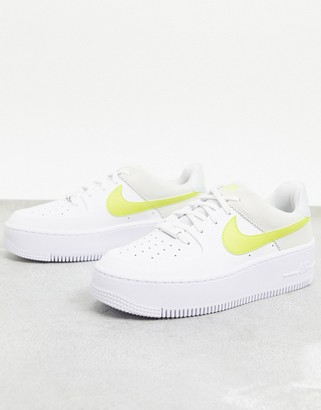 Nike Force 1 Sage trainers in white and yellow