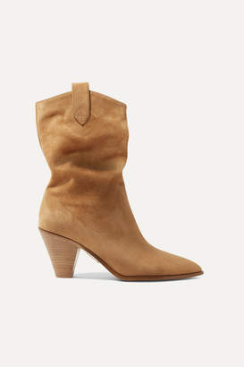 Aquazzura Boogie 70 Suede Ankle Boots - Sand