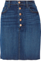 J Brand Roleen Frayed Stretch-denim Skirt - Dark denim