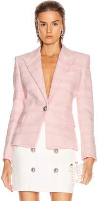 Balmain One Button Tweed Jacket in Pink | FWRD