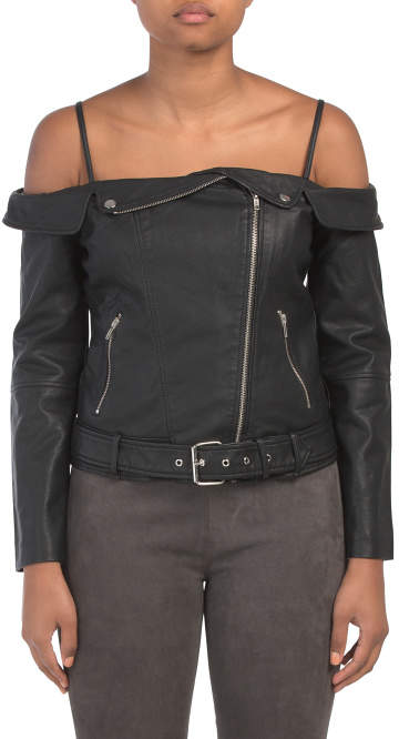 328faf459 Juniors Off The Shoulder Faux Leather Jacket