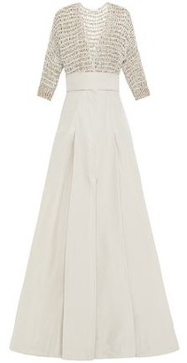 Brunello Cucinelli Embellished Open Knit-paneled Pleated Poplin Maxi Dress