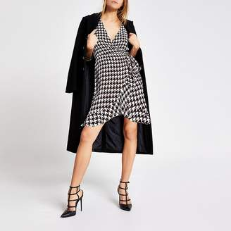 River Island Black dogtooth check wrap playsuit