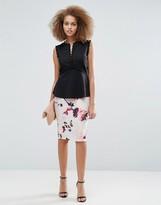 Little Mistress Petal Print Midi Skirt