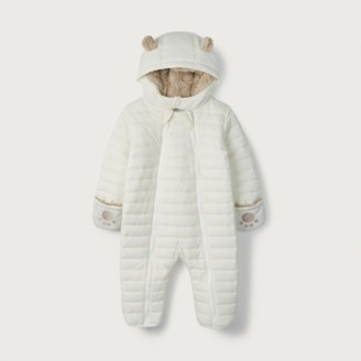The White Company White Quilted Pramsuit, White, 3-6mths