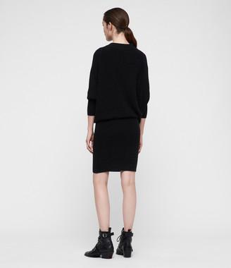 AllSaints Ridley Cowl Cashmere Blend Dress