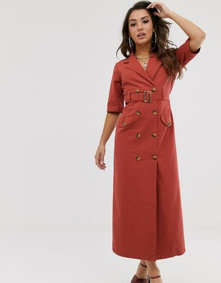 Asos DESIGN denim double breasted midi dress with short sleeve in rust