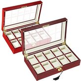 Yescom 10 XXL Slot Gift Wood Watch Case Glass Top Display Box Jewelry Collection Storage Organizer