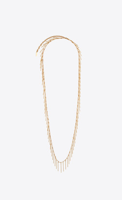 Saint Laurent Chain Necklace With Hanging Metal Bars Gold Onesize