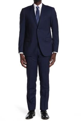 John Varvatos Collection Blue Striped Two Button Notch Lapel Suit