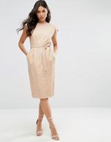 Asos Leather Split Sleeve Dress with Tie Belt