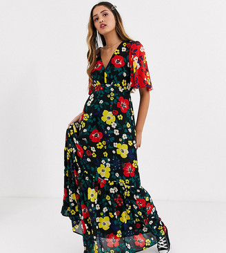 Twisted Wunder printed maxi tea dress in multi floral with contrast sleeves