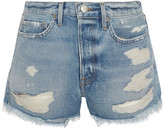 Frame Rigid Re-release Le Original Distressed Denim Shorts - Mid denim