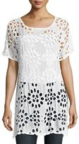 Johnny Was Lalla Long Eyelet Tunic, White, Plus Size