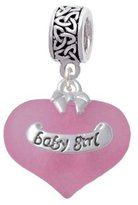Delight Beads Baby Girl Heart with Baby Feet Celtic Knot Charm Bead
