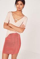 Missguided Textured Slinky Mini Skirt Dark Pink