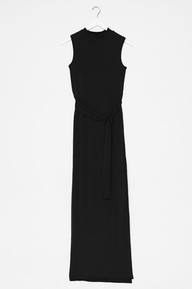 Nasty Gal Womens Take It to the Maxi Slit Belted Dress - Black
