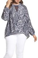 Melissa McCarthy Plus Size Women's Leopard Print Raglan Blouse