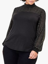 Oasis Curve Foil Dot Blouse, Black