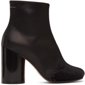 MM6 MAISON MARGIELA Black Velvet Toe High Heel Boots