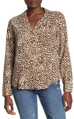 Lucky Brand Leopard Print Long Sleeve Top