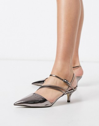 Call it SPRING monae kitten heel strappy pointed court shoes in pewter