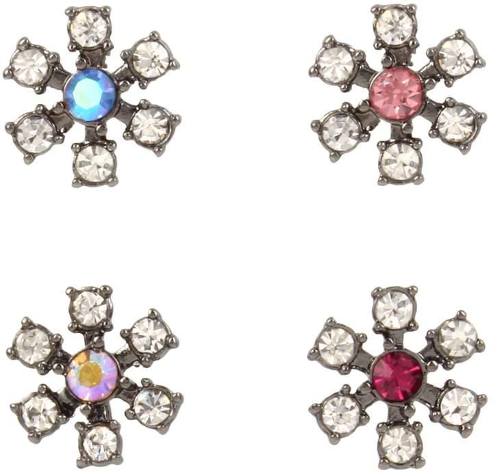 Betsey Johnson Fairytales Set of 4 Mixed Crystal Daisy Stud Earrings
