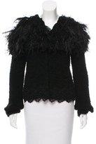 Nina Ricci Feather-Accented Knit Cardigan
