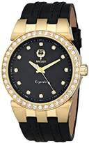 "Brillier Unisex 22-04 ""Krystals"" Crystal-Accented Gold-Tone Watch with Black Leather Strap"