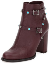 Valentino Rockstud Rolling 100mm Ankle Boot, Rubin