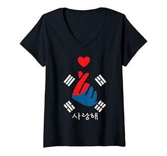 Womens K-Pop Finger Heart Saranghae Korean Flag Hangul V-Neck T-Shirt