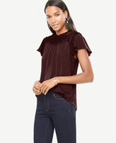 Ann Taylor Petite Pleated Flutter Top