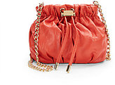 Badgley Mischka Melanie Goldtone Drawstring Leather Pouch