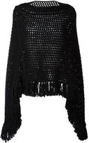 Saint Laurent open knit poncho - women - Wool - M