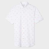 Paul Smith Men's Tailored-Fit White Fil Coupé 'Lips' Short-Sleeve Shirt