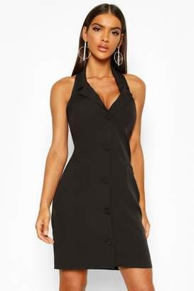 boohoo Sleeveless Halterneck Blazer Dress