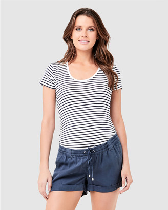 Ripe Maternity Women's Navy T-Shirts - Striped Tube Tee - Size One Size, XS at The Iconic
