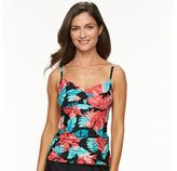 Croft & Barrow Women's Bust Enhancer Twist Tankini Top